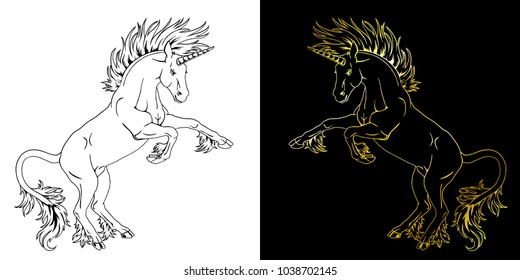 Set the state proud unicorns who got on hind legs black on white and gold on black line-art. The planimetric manual drawing an illustration, the page for the book of a coloring.
