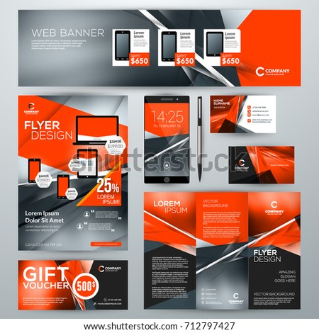 Set stationery design templates corporate identity stock vector set of stationery design templates corporate identity with abstract vector background web banner cheaphphosting Images
