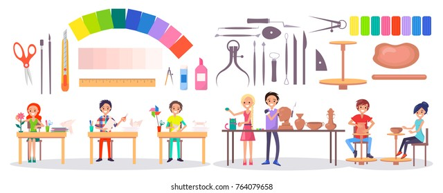 Set of stationery items, various instruments, art supplies and art school students isolated vector illustration on white. Young artists and their hobbies