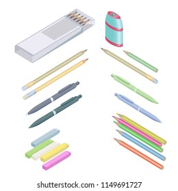 Set of stationery for School. Assortment of office supplies in 3D isometric style. Vector illustration EPS-8.