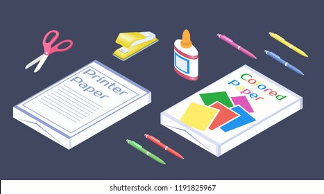 Set of stationery for School. Assortment for paper work. Paper for printer and colored paper. Office supplies in 3D isometric style. Vector illustration EPS-8.