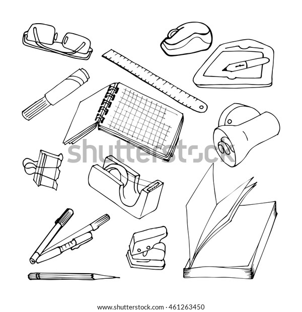 Set of stationery and school items in the style of hand-drawing. Black contour on a white background. Office accessories - pens, notebook, book, tape, clip, marker. Sketch style.