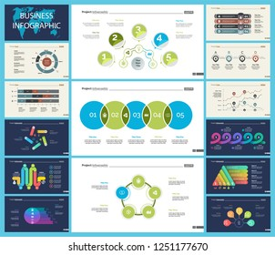 Set of statistics or strategy concept infographic charts. Business diagrams for presentation slide templates. For corporate report, advertising, banner and brochure design.
