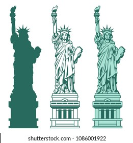 Set of the Statue of Liberty. Vector illustration