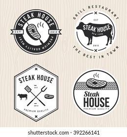 Set of steak house logo, badges, labels and banners for restaurant, foods shop. Vector illustration.
