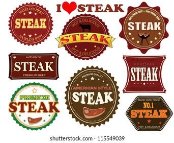 Set of steak labels and elements on white, vector illustration