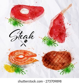 Set steak of watercolor hand-drawing blots and stains with a spray paint  on crumpled paper steak, fish steak, big steak.