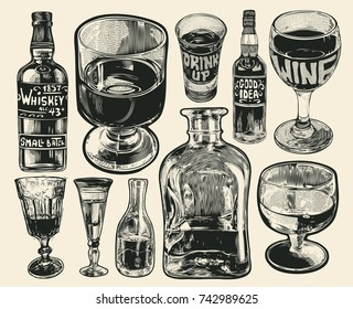 Set Of Stemware And Bottles . Glasses for alcohol. Engraving style. vector illustration