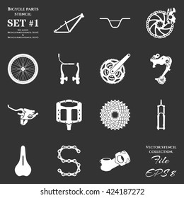 Set of stencil with symbols of spare parts and accessories for bicycles