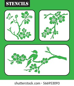 Set of stencils. Blossom cherry branch.  Sakura. Bird on the blossom cherry branch. Graphic vector decorative elements. Template suitable for laser cutting.