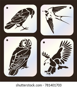 Set of stencils. Crow bird, swallow, owl, eagle. Set of wild bird silhouettes. Laser cutting template. Die cut card.