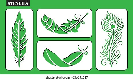 Set of stencils. Tribal feathers vector set. Rustic decorative feathers. Laser cut design.