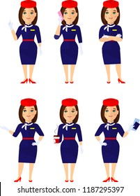 Set of stewardess in different poses, care for passengers. Group of flat cute cartoon air hostess holding airplane tickets, coffee.