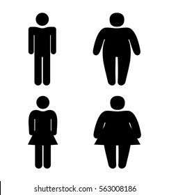 Set stick figure obesity man and woman, slender and thick, simple flat icons isolated
