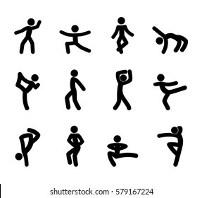 set stick figures dance moves isolated icons