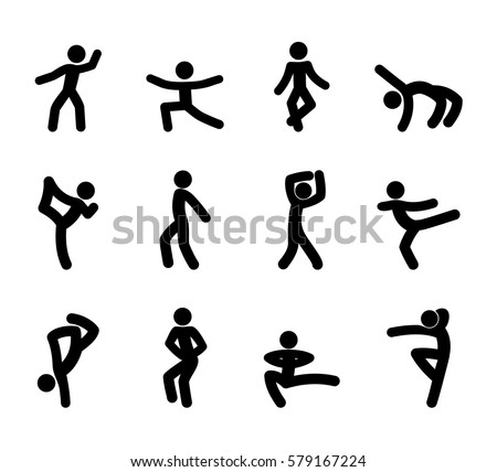 set stick figures dance moves isolated stock vector royalty free