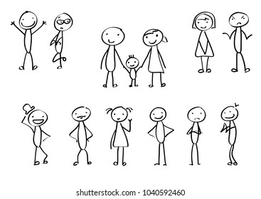 Set of stick figures in different emotions. Plus family stickmen.