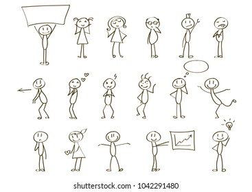 Set of stick figures in different poses and emotions.