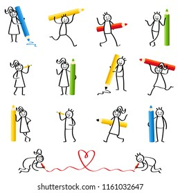 Set of stick figures, stick people writing, holding pencils and crayons, men and women smiling and laughing isolated on white background