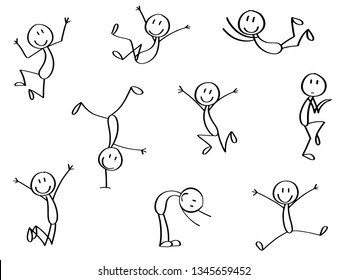 Set of stick men in crazy moves. Jumping, in action.