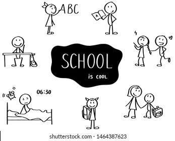 Set of stick men. School topic - reading book, writing ABC on the chalkboard, playing, waking up and going school. Funny hand drawn characters. Simple doodle style.