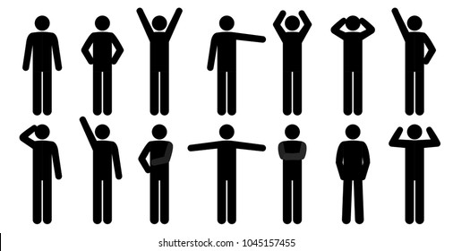 Set  of stick people in different poses isolated on white background. Simple design stick figures. Black and white Icon or logo. Flat style vector illustration.