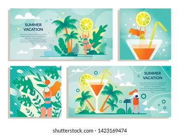 Set Sticker with Inscription Summer Vacation Flat. Girl on Tropical Island Holding Slice Lemon against Sky and Clouds. Woman is Going on Voyage. Luxury Resort Cruise to Tropics Cartoon.