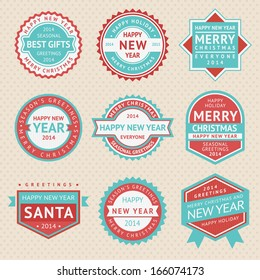 Set stickers and badges for Christmas cards, vector illustrations