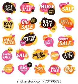 Set of stickers and badges, product promotion, special offer, shopping. Isolated vector illustrations for web design and marketing material.