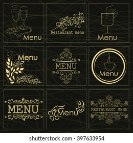 Set of stickers for a beautiful decorated restaurant menu, a cafe and snack bars can be used as a logo or other