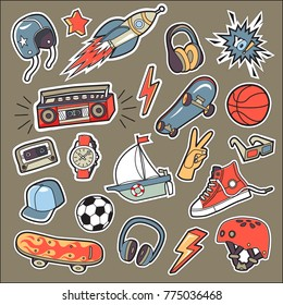 A set of stickers for the boy by interests.Vector .