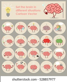 Set stickers brains in different situations. Vector cartoon icons