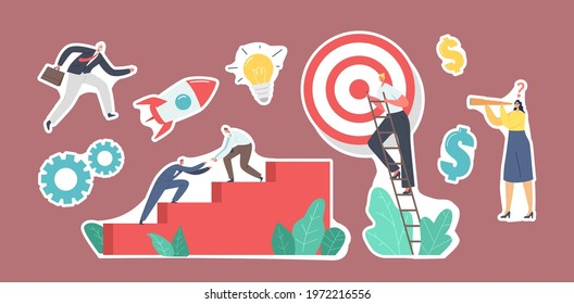 Set of Stickers Business Characters Team Climbing Stairs with Target on Top. Business People Next Step to Reach Aim. Teamwork and Leadership, Challenge, Start Up Concept. Cartoon Vector Illustration - Shutterstock ID 1972216556