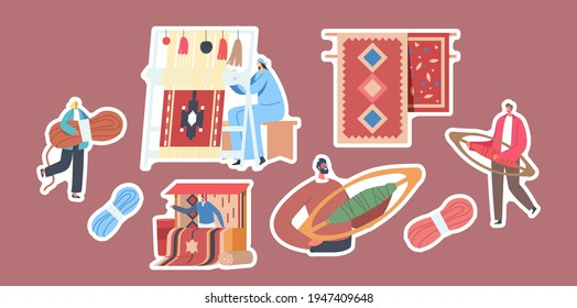 Set of Stickers Carpet Weaving Theme. Woman Work on Handloom, Tiny Characters with Skein of Thread and Weaving Shuttles, Stall with Rugs for Sale, Vintage Art. Cartoon People Vector Illustration