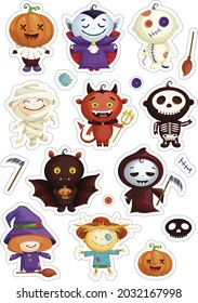 Set of stickers of cartoon characters in costumes for Halloween. Cute Dracula, Witch, Bat, Scarecrow, pumpkin, Voodoo doll, Death with a scythe, skeleton, Egyptian mummy. Vector graphics