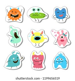 Set of stickers with cartoon monsters. Vector illustration.