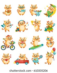 A set of stickers with a cat that engages in various activities