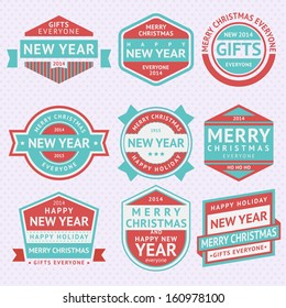 Set stickers for Christmas, vector illustrations