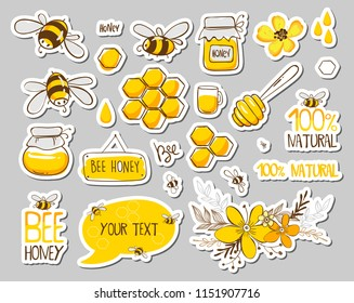 Set of stickers with cute bees, flowers and honey with lettering. Vector illustration EPS 10