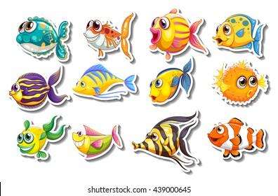 Fish Sticker Images Stock Photos Vectors Shutterstock