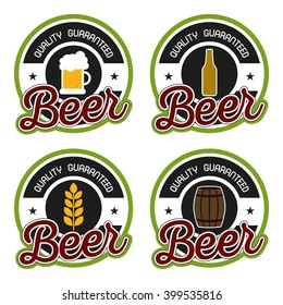 Set of stickers with different beer icons and text on a white background
