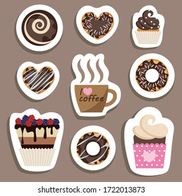 a set of stickers with drawn sweets and a Cup of coffee. nine options. flat drawing in cartoon style. stock vector illustration. EPS 10.