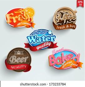 Set of stickers of drinks lemonade, beer, water, coffee and pastries. Vector.