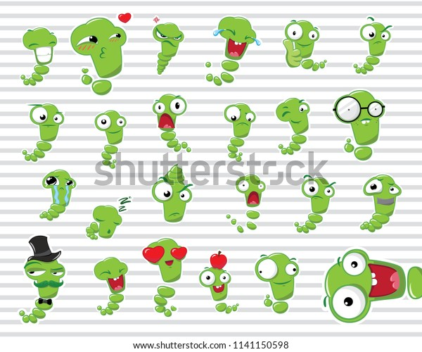 Set Stickers Emotions Crazy Worms On Stock Vector (Royalty Free