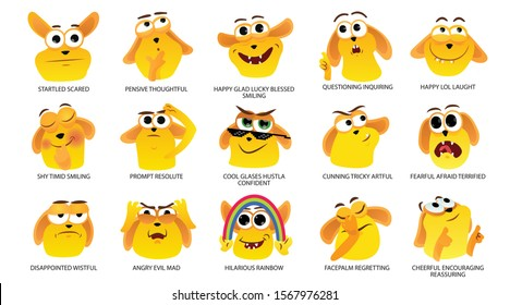 Set of stickers emotions palette face expressions vector meme emoji internet comic pet pack cartoon faces