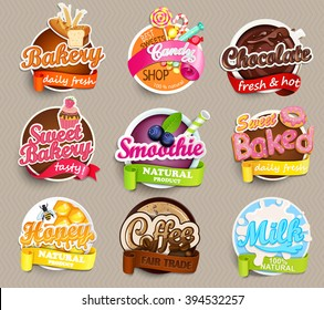 Set of stickers of food - farm fresh,pizza, fresh juice and grill, water, chocolate, coffee, smoothie, honey . Vector.