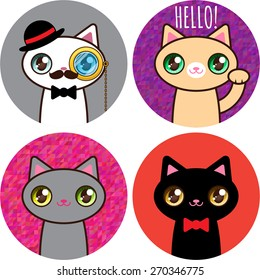 Set of stickers funny cats #02, vector EPS 10