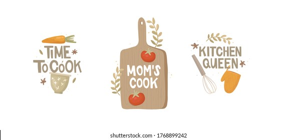 "Set of stickers. Handwritten lettering. Three inscriptions ""time to cook"", ""mom's cook"", ""kitchen queen "". Vintage kitchen utensils, vegetables. Bowl, whisk, cutting board, potholder, carrot, tomato."