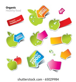 Set of stickers and icons of healthy and organic food. Vector illustration.