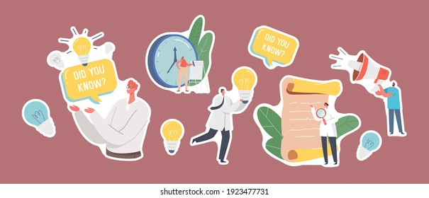 Set of Stickers Interesting Facts Theme. Scientists with Magnifier and Light Bulb, Antique Parchment Scroll Man with Did You Know Speech Bubble Explain Info, Tips. Cartoon People Vector Illustration
